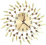 DZCGTP Wanduhr Gold Wanduhr, Blume Schmiedeeisen Mute Wanduhr, Kreative Wohnzimmer Dekoration Uhr, Vintage Quarz Wanduhr