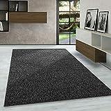 Carpetsale24 Kurzflor Teppich Flachgewebe Schlingenteppich Kettelteppich Meliert Anthrazit, Maße:140 cm x 200 cm
