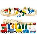 Lalia Bahnset Zug Schienenbahn aus Holz 33 Teile, Holzspielzeug für Kinder, bunt, Eisenbahn Schienen Zug Set. Tolles Geschenk für kleine Schaffner Holzeisenbahn