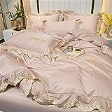 Super King BettwäSche Set,Skizze WasserwäSche Seide VierstöCkige EIS Seide Nordische Art Prinzessin Wind Sommer Bett Einzelne Betten-G_1,5m Bett (4 StüCk)