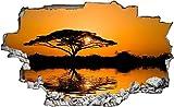 Wandaufkleber 3D Spiegel Ansicht Durchbrechen die Mauer Vinyl Wandsticker Savanne Afrika Baum Entfernbarer DIY Vinyl Wandtattoo für Wohnzimmer, Schlafzimmer,Kinderzimmer 70x110