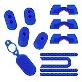 DronePost Set Blau Xiaomi Mijia M365 Anti-Staub-Abdeckung, Ladekappe aus Silikon, reflektierende Aufkleber, Stoßdämpferkissen (Kappen, Aufkleber, Kissen, 2 Stück)