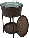BUSUANZI Cool Bar Tisch im Freien mit Wicker, Wicker Eimer Beistelltisch, kühle Weidentisch mit Eiskübel für Partys Swimmingpools Decks Strände