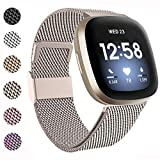 BeYself Kompatibel mit Fitbit Versa 3 Armband/Fitbit Sense Armband, Edelstahl Handgelenk Metall Ersatzband Armbänder Kompatibel mit Fitbit Versa 3/Sense, Klein Groß