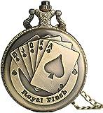 Taschenuhr Flush Poker Karten Muster Halskette Uhr Vintage Style Bronze Anhänger Kette Edel 3D Poker Face Clock Quarz Taschenuhr
