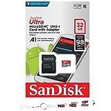SanDisk Ultra A1 32 GB MicroSD HC Class 10 UHS-1 Mobile Speicherkarte bis zu 98 MB/s Lesegeschwindigkeit (SDSQUAR-032G) mit MicroSD auf SD Adapter & MemoryMarket Lanyard