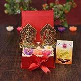 Sataanreaper Presentsbox of Metal Laxmi Ganesh Idol Prunkstück Für Wohnkultur, 4 Stück Wachs Schwimmkerzen, Karte Mit Geschenk-Box Für Familie Und Freunde, Büro, Chef,#SR-0302