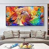 Druck auf Leinwand Abstrakte Wandkunst Regenbogen Splash Wandposter und Drucke Wandbilder für Wohnzimmer Home Art Dekoration Wandbild-50x100cm ohne Rahmen