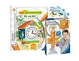 tiptoi Ravensburger Set: Mein Lern-Spiel-Abenteuer   Uhr und Zeit (Kinderbuch) + 00036 Der Stift - WLAN-Edition + 2X Create-Sticker