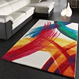 Paco Home Teppich Modern Bunt Teppich Splash Brush Leinwand Optik Creme Grün Blau Rot Gelb, Grösse:120x170