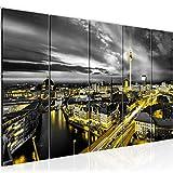 Runa Art Wandbild Wohnzimmer Berlin Skyline 200 x 80 cm Schwarz Gelb 5 Teilig - Made in Germany - 0043a
