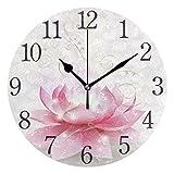 Mnsruu Runde Wanduhr mit rosa Lotusblüte, geräuschlos, kein Ticken, Ölgemälde für Schlafzimmer, Wohnzimmer, Büro, Schule, Heimdek