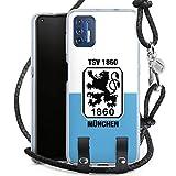 DeinDesign Carry Case kompatibel mit Motorola Moto 9G Plus Hülle mit Kordel aus Leder Handykette zum Umhängen schwarz Silber TSV 1860 München Offizielles Lizenzprodukt Wapp