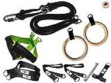 BodyCROSS Premium Schlingentrainer mit Turnringen | Made in Germany | Ideal für Calisthenics und Turnübungen | Griffe, Übungsposter, Türanker, Befestigungsschlaufe