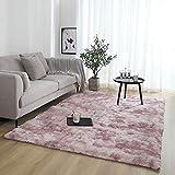 ZQWE Teppiche Wohnzimmer, Hochflor Teppich Wohnzimmerteppich, Hochflor Langflor Teppiche Modern,flauschig Shaggy Schlafzimmer Bettvorleger Pflegeleicht (Pink Purple,50 x 80cm)