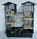 Interzoo Super Hamsterkäfig, Nagerkäfig, Käfig CH2 in schwarz/beige Gratis Futternap