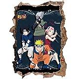 3D Wandaufkleber Naruto Sasuke Naruto Cartoon Anime Kinderzimmer Wasserdichter Glasaufkleber Wandtattoo-80 * 120CM-D_60*90CM