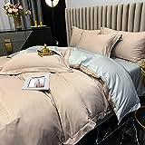 Bedding-LZ Bettbezug 200x200,Skizze Gewaschenes Triple Vier Set White Hotel Wind Summer Ice Seide Bettbedarf-Ich_1,5m Bett (4 StüCk)