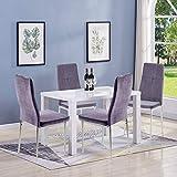GOLDFAN Esstisch mit 4 Stühlen Esstisch Holz Moderner Esstisch Hochglanz Rechteckiger Küchen Tisch Esszimmerstuhl aus Stoff Mit Metallbeinen, Weiß& G