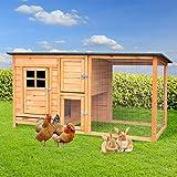 BRAST Hasenstall Premium 160x80x75cm zweistöckig Aufklappbares Dach 2 Sitzstangen Kaninchen Stall Kleintier Käfig Hasenvilla