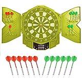 Elektronisch Dartscheibe, Elektronische Dartboard mit LCD-Anzeigemit und Türen,12 Dartpfeilen 27 Spiele mit 216 Spieloptionen Profi Elektronik Dartspiel für Kinder