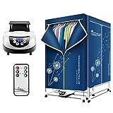 FXQIN 1500W tragbarer Elektrischer Wäschetrockner kondenstrockner 240 min Timer Clothes Dryer mit Fernbedienung Energiesparende Faltbare Kleidungstrockner,Blau
