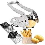 WMLBK Pommes Frites Presse Schneider mit 2 Schneideeinsätzen Edelstahl Pommesschneider Kartoffelschneider Gemüseschneider und Stempel Schneideinsätze