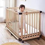 Dripex Baby Laufstall aus Holz, 4 Paneele Spielzaun für Kleinkinder, Multi Kids Activity Center Sicherheit Spielhof, Babybett Holz Krippe (100 x 65 cm)