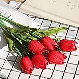 MUMEOMU 5 Stück Künstliche Blumen Deko Tulpe Kunstblüten Artificial Flowers Tulpenstrauß Kunstblumen Blumenstrauß Brautschmuck Hochzeit Home Party Dekoration DIY