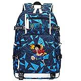 ZZGOO-LL One Piece Monkey·D·Luffy/Roronoa Zoro Anime Rucksäcke Student School Bag Laptop Rucksack mit USB-Ladeanschluss-G