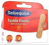 Salvequick ® | Textile Strips | Atmungsaktive und schmutzabweisende Pflaster mit ausgezeichneter Haftung und geeignet für Ellbogen, Knie und Gelenke | Packen Sie 20 E