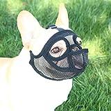 TANDD Maulkorb für Hunde mit kurzer Schnauze – verstellbar, atmungsaktiv, Netzgewebe, für Bellen und Beißen, Kauen, Training (XXS, schwarz (Zunge))