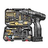 51stück Hand Werkzeug Set, Haushalts Werkzeugkoffer mit 25V Akku-bohrmaschine, Multimeter, Hammer, Zange, Schraubendrehersatz, Schraubenschlüssel- Geeignet für Dekorateure, Elektriker, Diyer