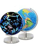 RUXMY Globe Home Rotating Globe Weltkarte Pädagogische große rotierende Tischplatte Globe 20 cm beleuchtete LED