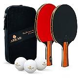 Arkad Tischtennis Set [Verbessertes Design] • 2 Tischtennisschläger + 3 Premium Bälle • Tischtennis Schläger Set mit Tasche • Tischtennisschläger Profi Sport Set für Indoor & Outdoor Spiele