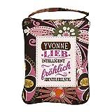 History & Heraldry Design Top Lady Tasche: Yvonne/Einkaufstasche, Strandtasche, Sporttasche, Blumenmuster/vielseitig, praktisch, personalisiert mit Name und Spruch