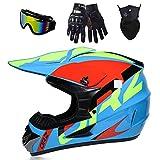 Joryoc Motocross Helm Motorradhelm Mountainbike Helm Kinder crosshelm Downhill Helm mit Brille Handschuhe Maske (Blau, S(52-53cm))