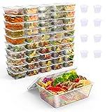 Gifort 50 PACK Lebensmittelboxen mit Deckel, Wiederverwendbar 650 ml Mahlzeitenbehälter, Wiederverwertbar Luftdichter Deckelverschluss Lunchbox