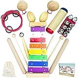 SCHMETTERLINE® Musikinstrumente-Set aus Holz für Kinder ab 3 Jahre - 16 TLG. Musik-Spielzeug mit liebevoll entwickelten Premium Rhythmus-Instrumenten, Xylophon und Liederbuch