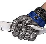 ThreeH Schnittfeste Handschuhe Edelstahl 316L Butternetzhandschuhe aus Draht Schutzhandschuh für Stufe 5 GL09 XS(Ein Handschuh)