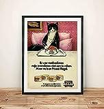 JuYiCk Katzen-Illustration, süßes Haustier-Regal mit Lebensmittel-Werbung im 70er-Jahre-Stil, klassische Kunst, Retro-Druck, Wandkunst, Heimdekoration, Blechschild, 20,3 x 30,5 cm