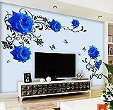HALLOBO® Wandtattoo Blau Rosen Ranke XL Blumen Wandaufkleber Wandsticker Wohnzimmer Schlafzimmer Deco Wall Sticker Dek