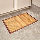 iDesign rutschfeste Fußmatte, kleiner Duschvorleger aus Bambus, wasserabweisender Läufer für Badezimmer, Küche und Flur,43 x 61 cm, hellbraun