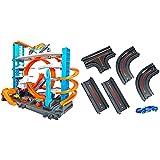 Hot Wheels FTB69 - City Ultimate Parkgarage und Parkhaus für Kinder, Garage mit Hai für +90 Autos & GCF93 - City Track Pack Erweiterungsbundle mit 1 Spielzeugauto und geraden Teilen