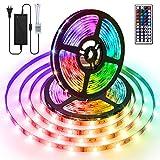 AMBOTHER LED Streifen 10M(2x5M) RGB LED Strip 5050 SMD 300(2x150) LEDs Lichtband mit Netzteil 44-Tasten IR Fernbedienung selbstklebend Kit für Innen Beleuchtung Deko