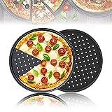 RunSnail Pizzablech mit PFOA-Antihaftbeschichtung, aus Karbonstahl, Pizza-Backblech für Ofen, 32 cm, 2 Stück