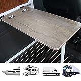 Tischplatte für Wohnwagen, Abgerundeter rechteckiger Wohnmobil-Tisch mit 2 Schalenschlitzen, Innenausstattung für Wohnmobile, Boote, Wohnwagen, Vans, Wohnmobile, 39,5 × 79,5 cm,A