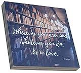 Recreatio   Holzbild   15x15x2cm   Bild mit Spruch zum Hinstellen & Aufhängen   Aufsteller Schild aus Holz   Deko Geschenk (Be in Love)