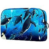 Reise-Make-up-Tasche Große Kosmetiktasche,Unterwasser süße Pinguine Schwimmen ,Make-up-Tasche Organizer für Frauen und Mädchen