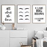 zuomo Augenbrauenformen Schönheitssalon Make Up Poster und Drucke Lustige Wohnkultur Zitat Wandkunstdruck Wimpern Bilder Schlafzimmer Dekor 40X60cm Kein Rahmen